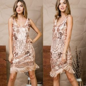 LEONA Sequin Rose Gold Dress